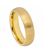 Men's Domed 6mm Yellow Gold Tungsten Wedding Band Ring Satin Finish - $59.99