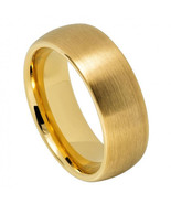 Men's Domed Yellow Gold Tungsten Wedding Band Ring Satin Finish - $59.99
