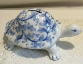 ANDREA BY SADEK BLUE & WHITE TURTLE BANK MADE IN THAILAND WITH PLUG - $14.00
