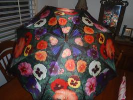 Lot of 2 Vintage Artbrollies Pansy and Oscar De La Renta Umbrellas  - $93.28