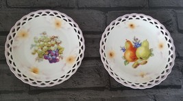 Vtg 2 Plates scalloped pierced Hand Painted Fruits Flowers Cico Bavaria ... - $24.98