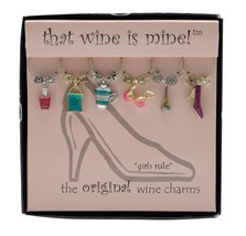 """That Wine Is Mine ~ """"Girls Rule"""" 6 Wine Charms [Brand New] - $13.50"""