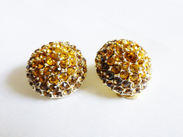 Gold Tone Yellow Citrine Color Crystal Dome Clip On Earrings - $20.79