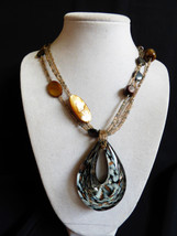 CG multi strand glass Mother of Pearl shell beads Large art glass tear necklace - $34.65