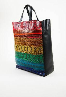 5a19323e1f7 ... Celine NWOT Multicolor Ayers Snakeskin   Leather Rainbow Vertical Cabas  Tote ...