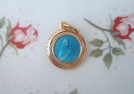 Catholic Medal ST. THERESE LISIEUX Little Flower Blue Enamel Gold finish 14.5mm - $14.01