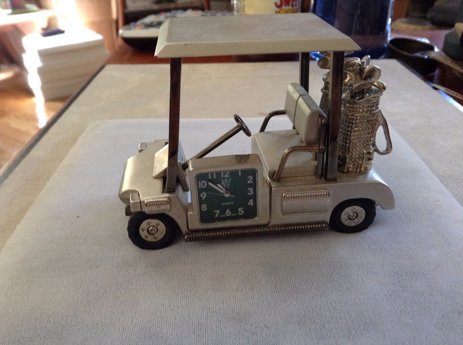 Used Great Condition Silver Toned Golf Cart Clock Green Square Face Black Wheels