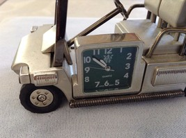 Used Great Condition Silver Toned Golf Cart Clock Green Square Face Black Wheels image 2