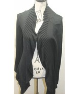 Zara Women Ruffle Black Open Cardigan Sweater Medium Cotton L/S Cable Kn... - $30.68
