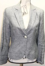 Classic Anne Klein Linen Gray Women Blazer 1 Button Lined Small Fitted Cropped - $22.99