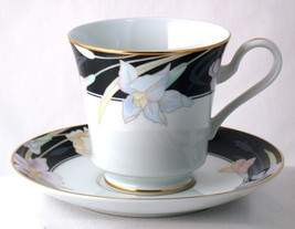 Mikasa Charisma Black Cup & Saucer Set New Fine China L9050 - $7.50