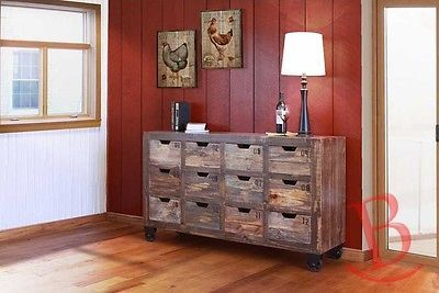 Gabriel Multi Drawer Multi Color Console 12 Numbered Drawers Industrial Rustic