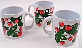 3 Waechtersbach West Germany Red Strawberry Str... - $28.66