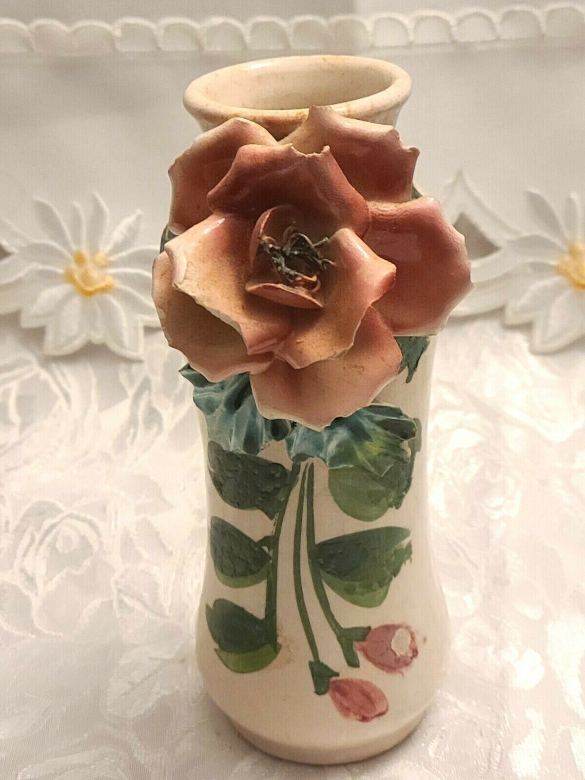 Antique Hand Made & Painted Sculpted Rose on a Ceramic Vase, Made In Italy