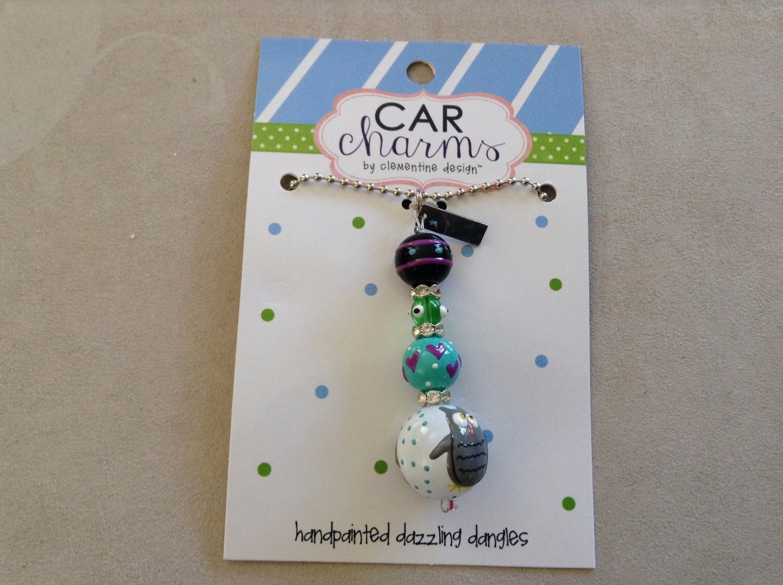 New Car Charm Hand Painted Owl Clementine Design