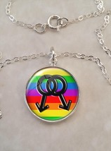 Sterling Silver 925 Pendant Necklace Gay Pride Rainbow LGBT - £21.88 GBP+