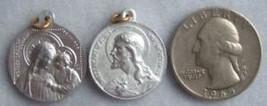 Vintage Catholic medal Mary OL GOOD COUNSEL w/ Sacred Heart of Jesus aluminum - $9.49