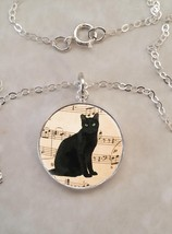 Sterling Silver 925 Pendant Necklace Black Cat Music Notes - £23.18 GBP+