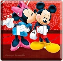 MICKEY MOUSE & MINNIE IN LOVE KISSING DOUBLE LIGHT SWITCH WALL PLATE ROO... - $10.79