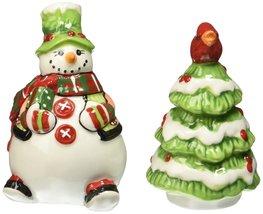 Holly Hat Snowman Collection, Salt & Pepper Shaker Set [Brand New] Fitz & Floyd - $21.90