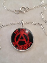 Sterling Silver 925 Pendant Necklace No Gods No Masters slogan Anarchy - £23.18 GBP+
