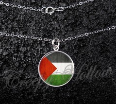 Sterling Silver 925 Pendant Necklace Palestine Flag Middle East Human Ri... - £23.18 GBP+
