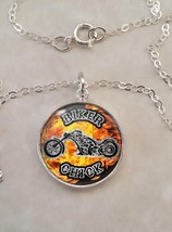 Sterling Silver 925 Pendant Necklace Motorcycle Biker Chick Motorbike Rider - $30.50+