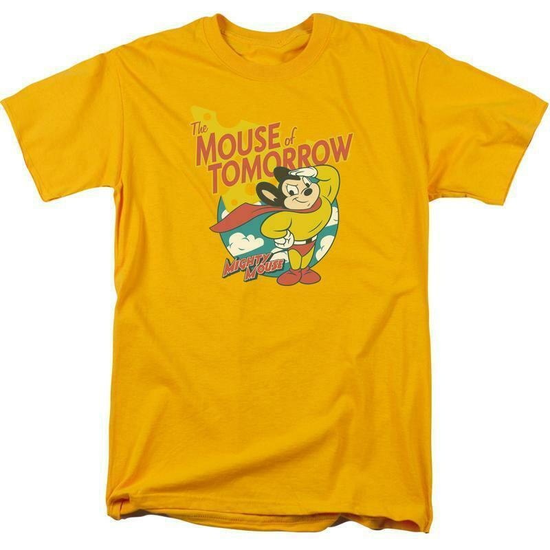 Mighty Mouse The Mouse of Tomorrow retro gold graphic t-shirt CBS960