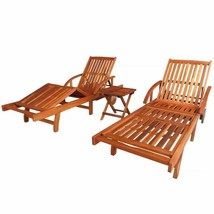 vidaXL Sunlounger and Table Set 3 Piece Solid Acacia Wood Brown Folding ... - $251.99