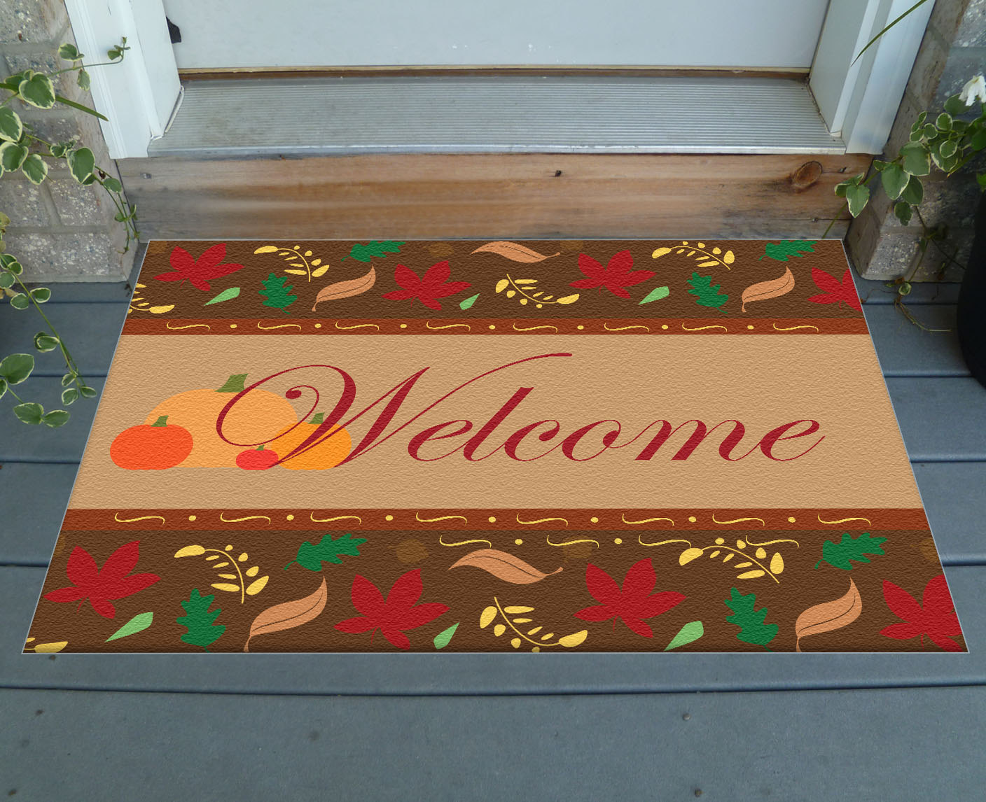Decorative fall welcome mat 36 x 24 indoor outdoor for Decorative door mats indoor