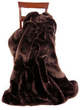 "Luxury Fox Faux Fur Mahogany Throw By Silk and Sable 60""x70"" - $225.00"
