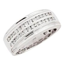 0.60 Carat F-VS 2-Row Diamond Classic Women's Wedding Band Ring 14k Whit... - £785.91 GBP