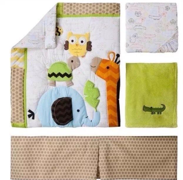 Circo Jungle Stack 4 Piece Nursery Crib Baby Bedding Set Giraffe Zoo Owl - $62.99