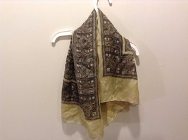 Brown With Bordering Pattern Green Tea and Tan Silk Scarf vintage