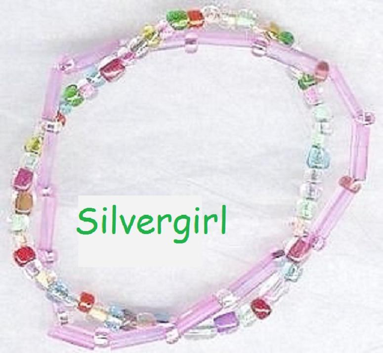 Pink Multi Colored 2 Strand Glass Beaded Bracelet