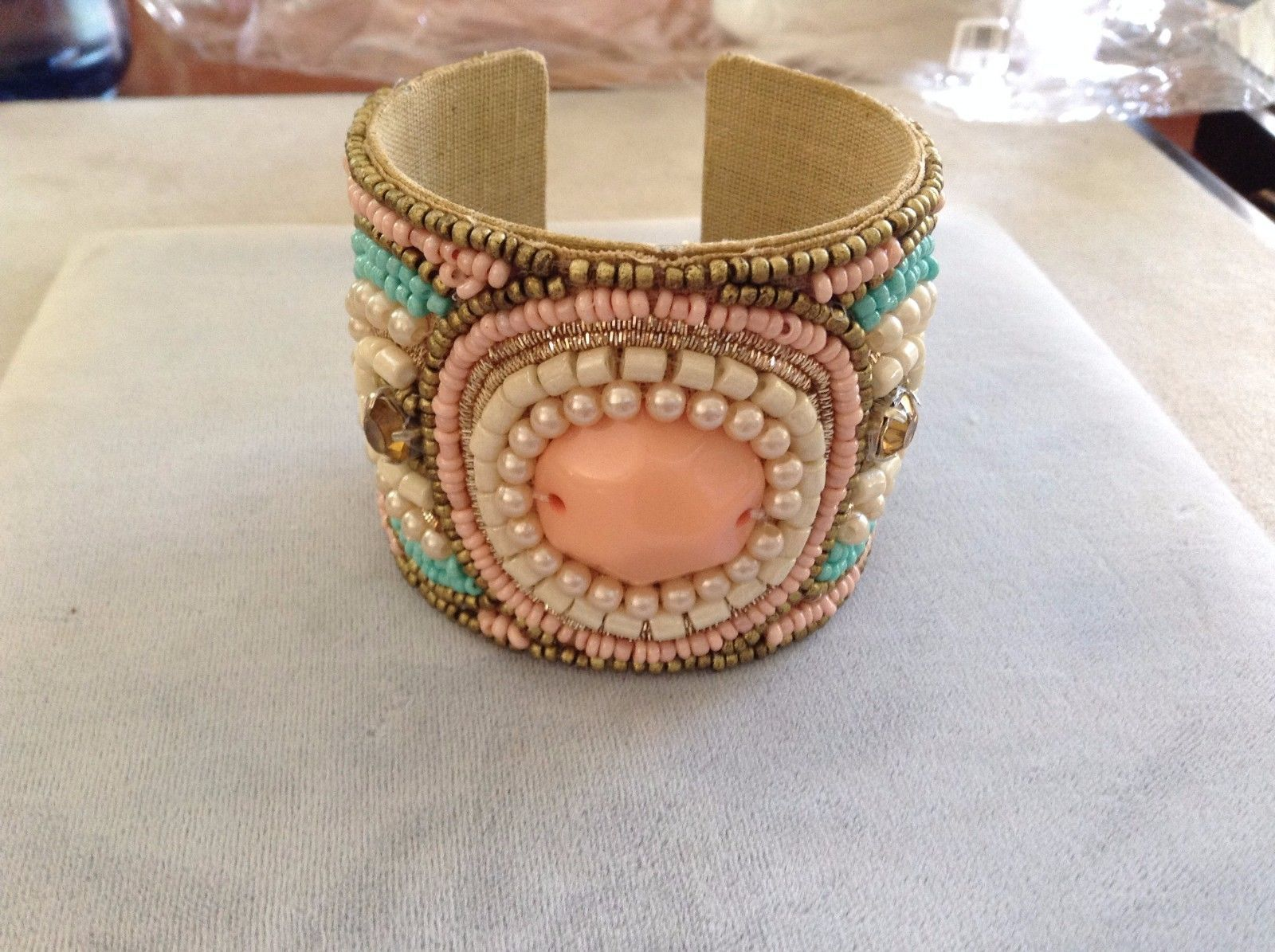 New Baby Pink Turquoise Brown Beaded Cuff Bracelet