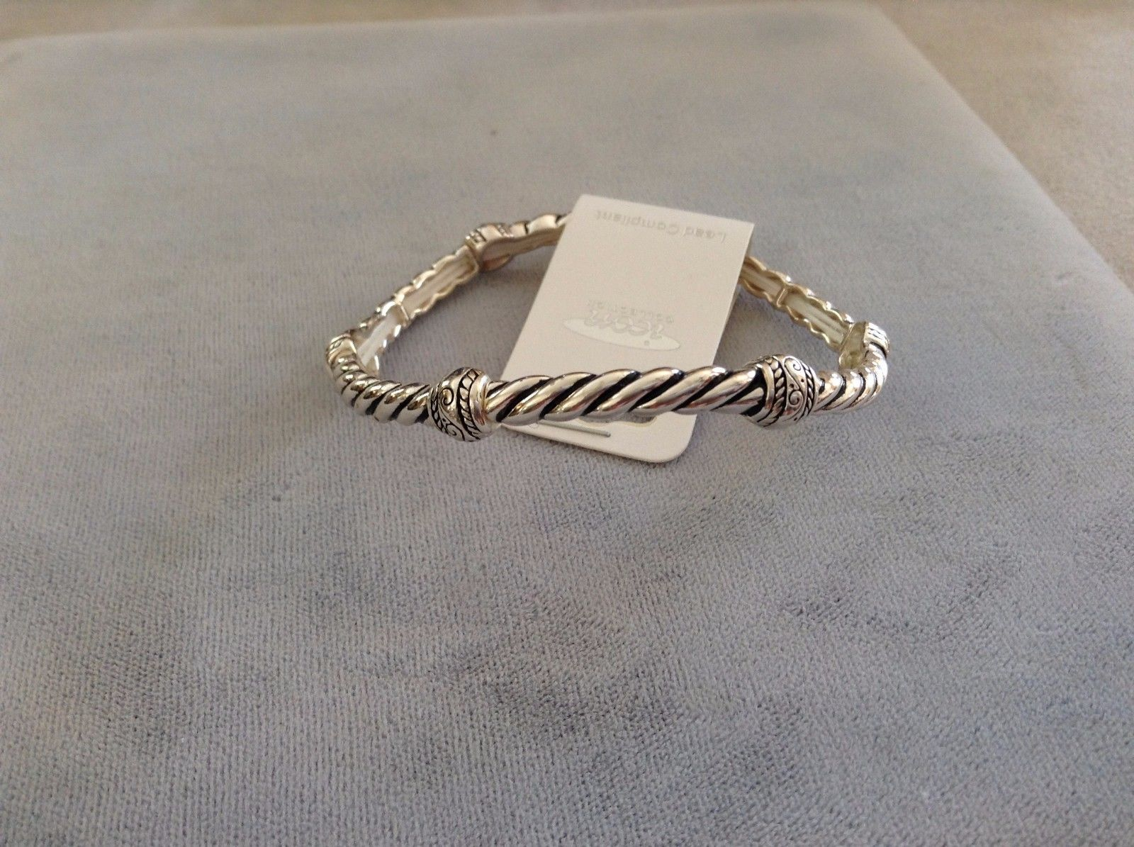 New Icon Collection Silver Toned Stackable Thin Stretch Braided Bracelet