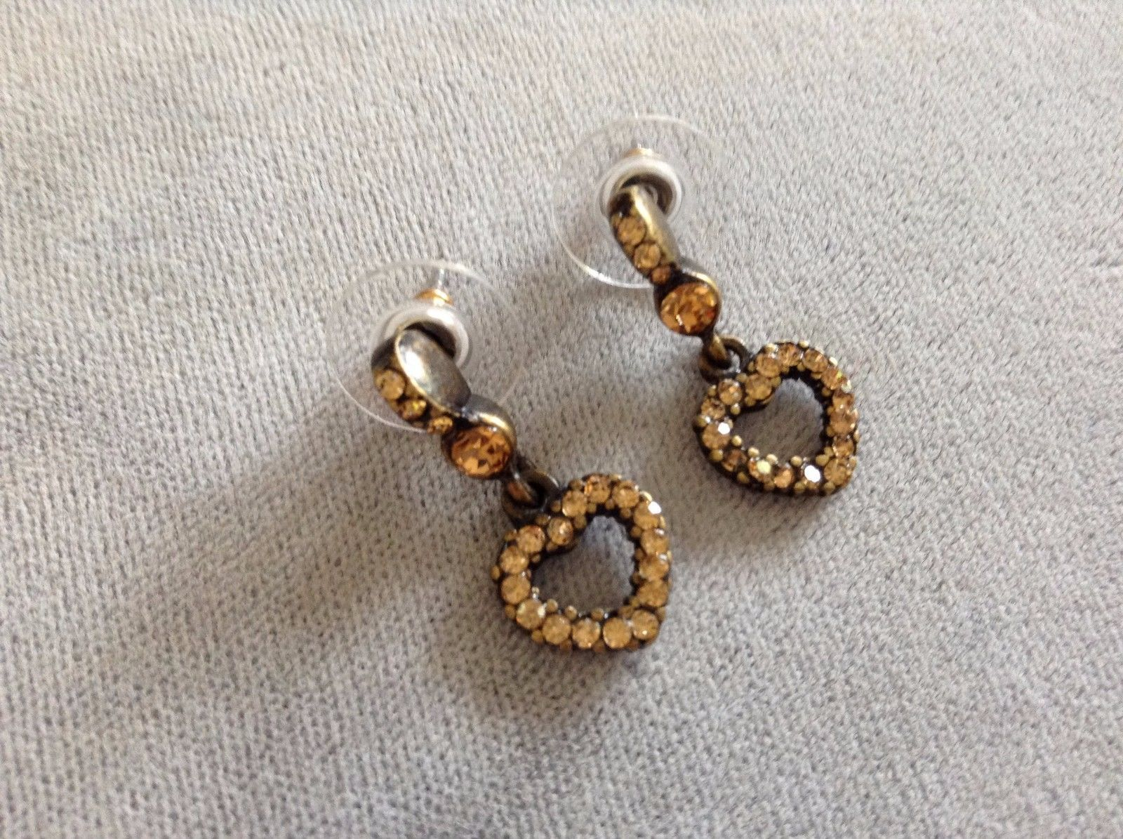 New Allure Earrings Bronze Gold Toned Elements Heart Shaped