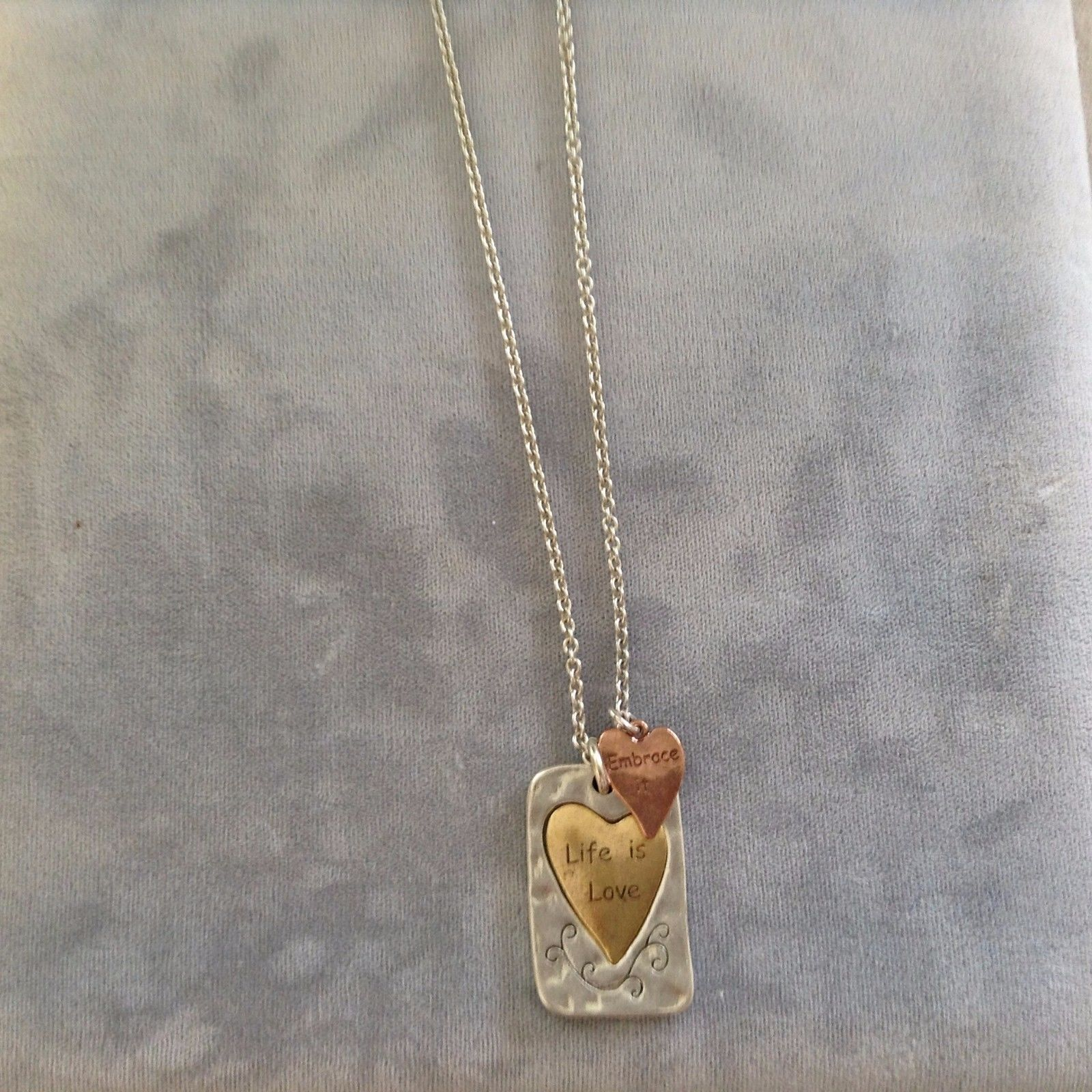 New Allure Silver Gold Bronze Toned Necklace Life Is Love Square Heart Pendant