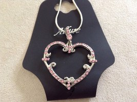 New Allure Earrings Silver Toned Pink Necklace With Decorative Swirls