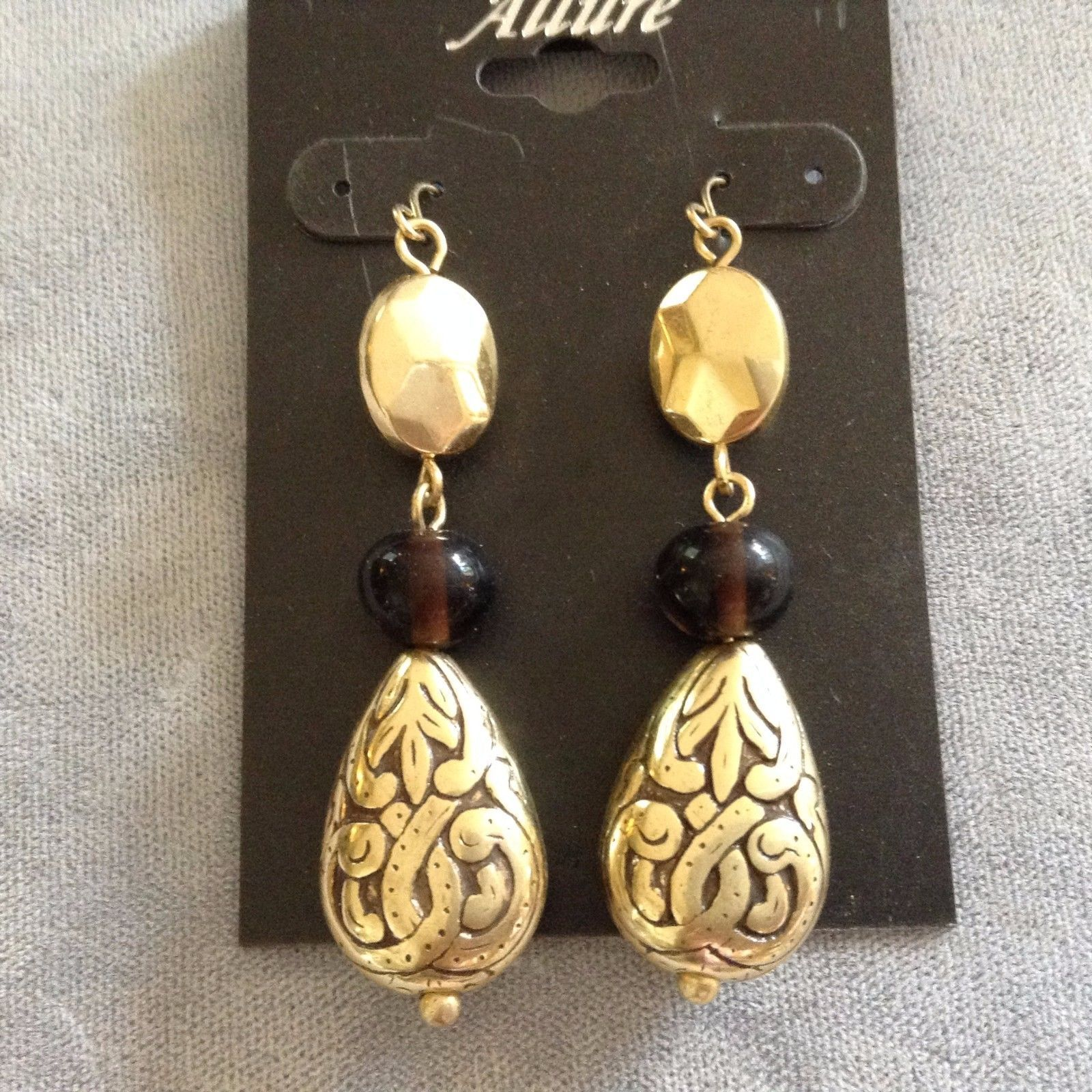 New Allure Earrings Gold Toned Black Drop Hanging Earrings with Celtic Designs