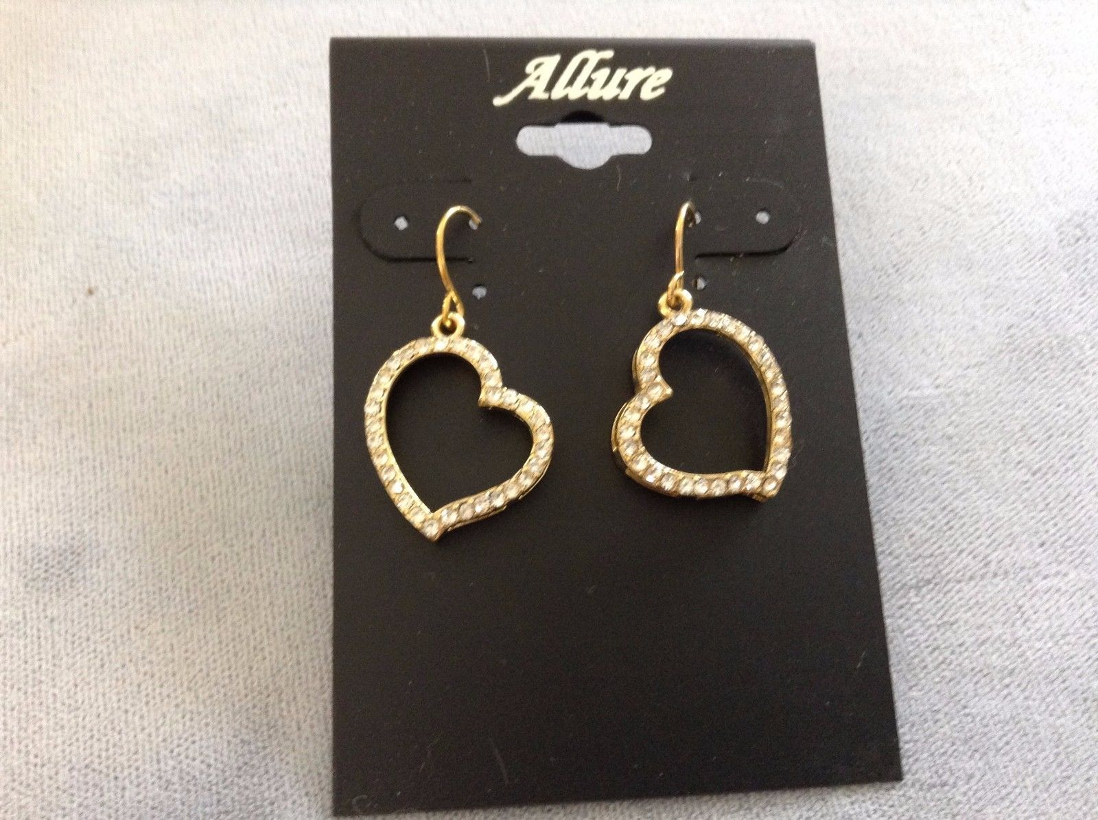 New Allure Earrings Gold Toned Heart Shaped Earrings with Diamonds