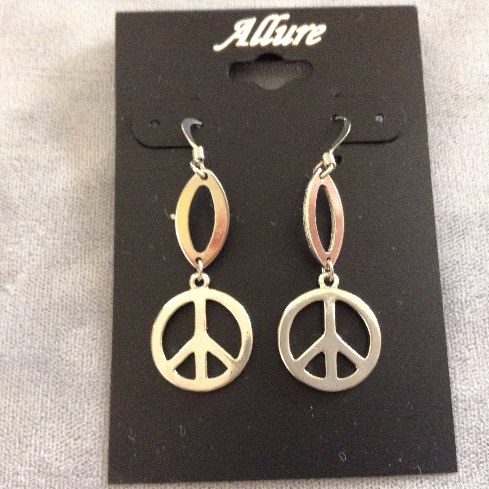 New Allure Earrings Peace Sign Silver Toned Hanging