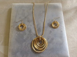 New Allure Gold Toned Diamond Necklace Earring Set Hoops Circles
