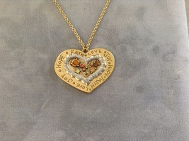 New Allure Faith Love Joy Heart Necklace Gold Toned 16 Inch Chain