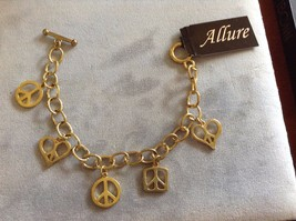 New Allure Gold Toned Charm Bracelet Peace Signs Different Shapes