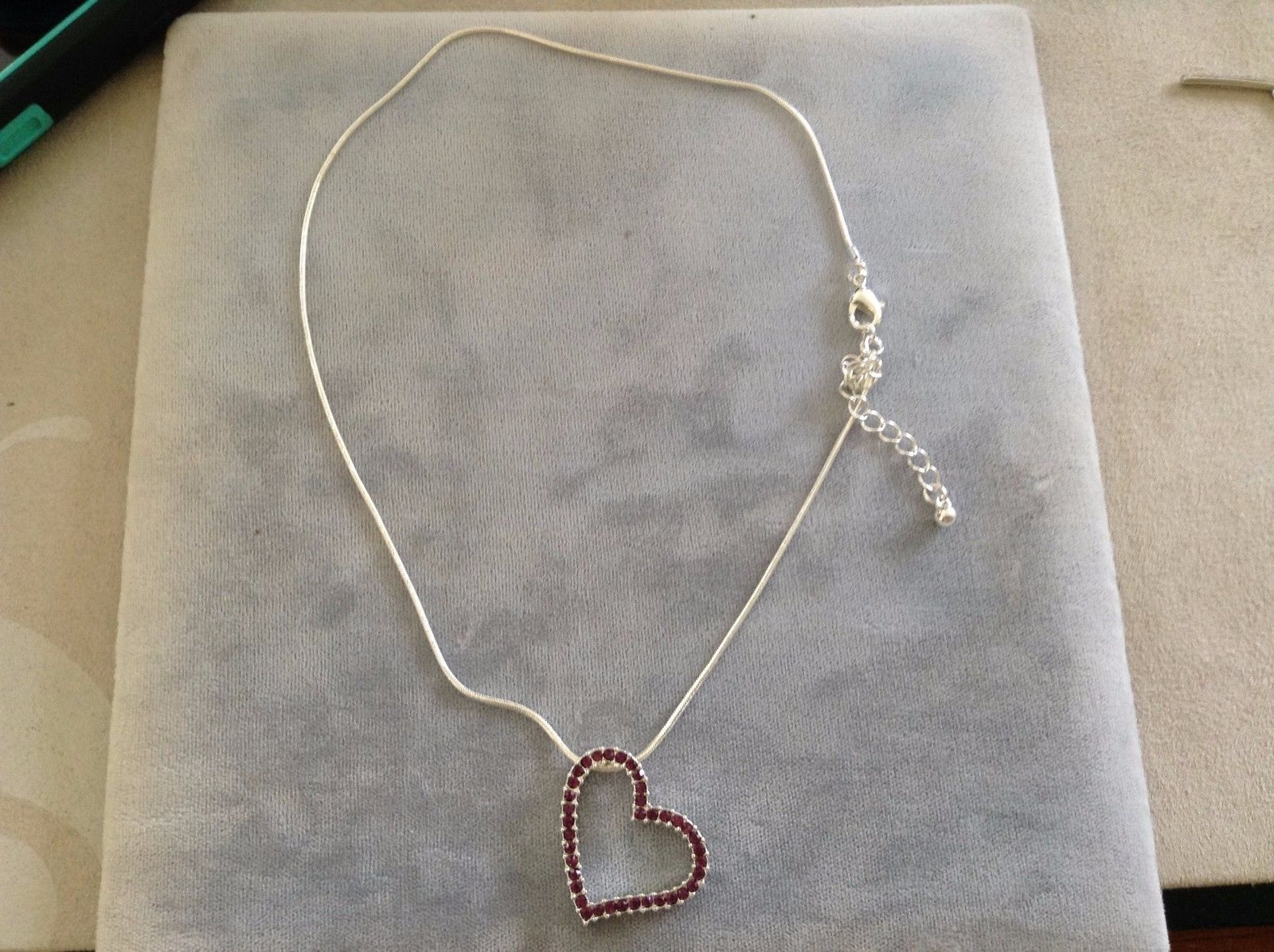 New Allure February Birthstone Heart Necklace on Silver Toned Chain