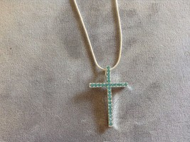 New Allure Silver Toned Blue Crystal Cross Necklace