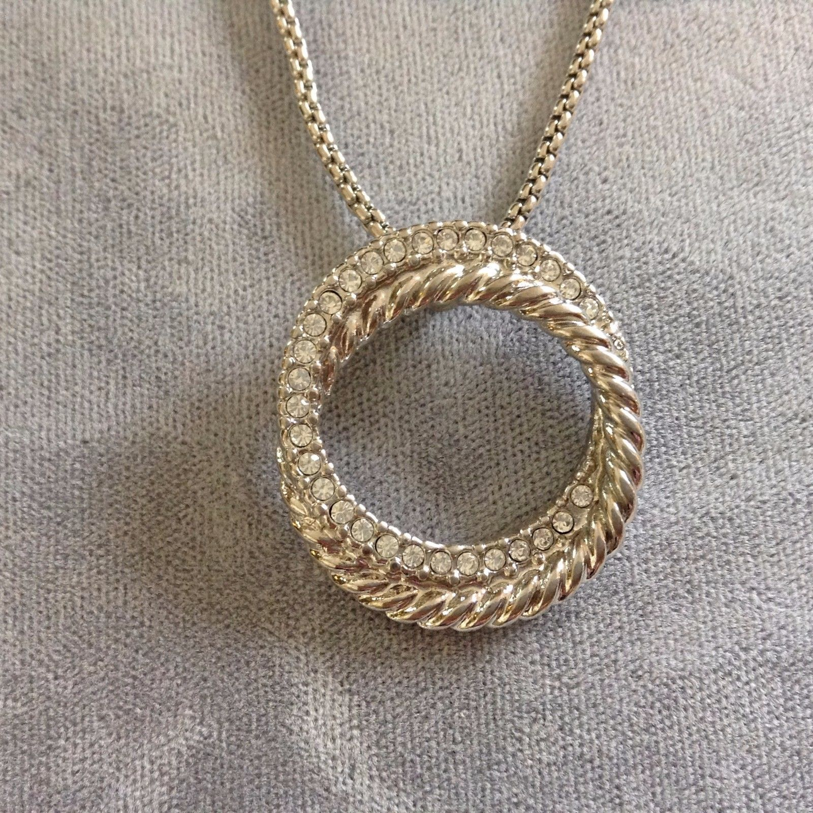 New Allure Silver Toned Necklace Braided Studded Rings Enlooped Pendant