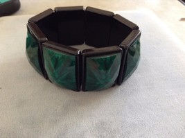 New Black Green Emerald Colored Elastic Stretch Bracelet - $25.73
